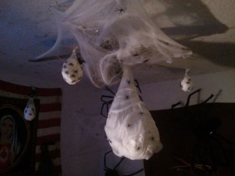 My homemade Spider Egg Sacs by BenorianHardback26