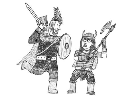 Gift art: Barbarian vs Barbarian by Dwarf-Cartoonist