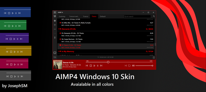AIMP4 Windows 10 Skin by JosephSM