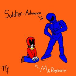 Soldier-Advance and Mr. Regression by SirGuyJacket