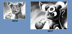 Umbreon then and now by Linda-98