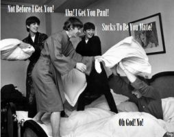beatles Pillow Fight by monieo