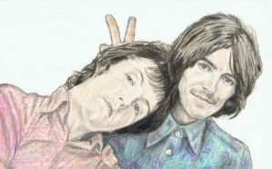 Paul McCartney and George Harrison - bunny ears by gagambo