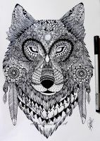 Zentangle wolf by itsalana