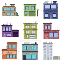 Pixel art buildings by artgh