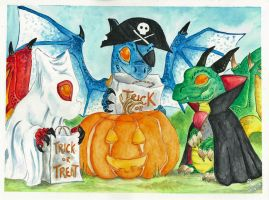 Halloween Whelplings by Dragon--Feathers