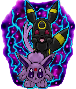 Pokemon Request- Umberon and Espeon Playing by dragonfire53511