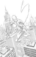 Spider-man swinging through the City pencils by JoeyVazquez