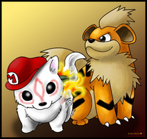Growlithe and Chibiterasu