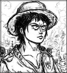Luffy in 10 years line art by IRCSS