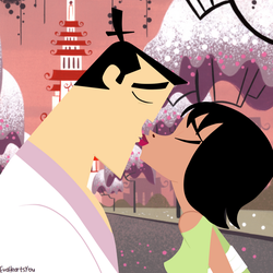 The Kiss of True Love - Samurai Jack and Ashi by EvaHeartsYou