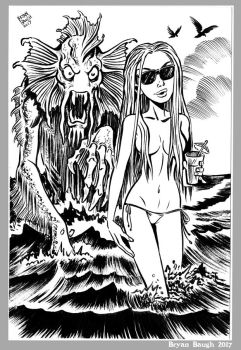 Mini Monster Ink Brush Drawing 7 Summer Sea Beast  by BryanBaugh