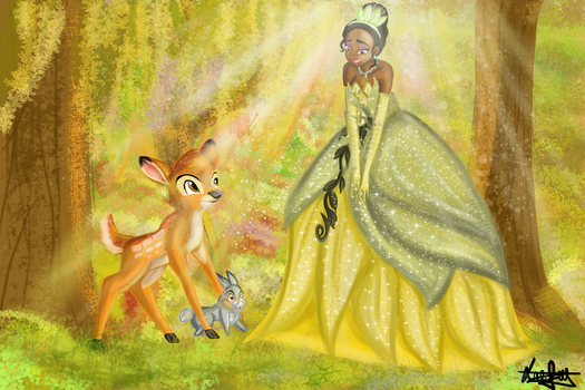 [ Crossover Disney ] Tiana, Bambi and Thrumper by Laefey