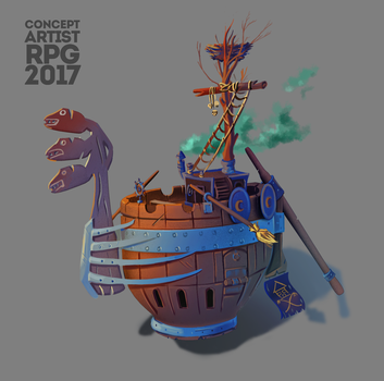 ConceptartistRPG Challenge Picture#2: pirate ship by XGingerWR