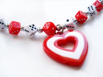 Dice and heart necklace by tothebonesjewellery