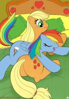 Appljack And Rainbow Dash In Bed by WhiteCloud72988