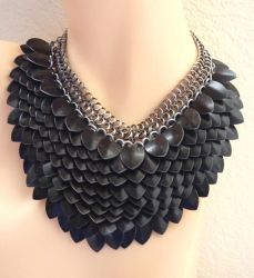 Black Scalemaille Necklace 2 by Divulged