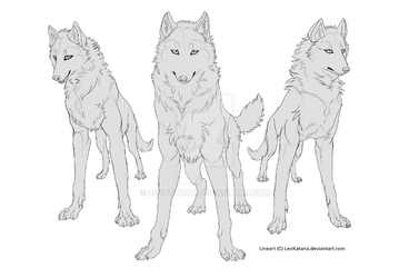 {Pay to Use} - 3 Wolves Lineart by LeoKatana