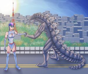 Dyna Twilight meets Godzilla by SmilingSkull77