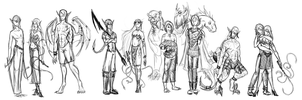 ZOMG ALL MY DROW CHARACTERS by Weretiger101