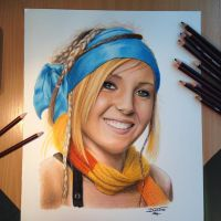 Pencil Drawing of Jessica Nigri as Rikku by AtomiccircuS