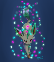 Leafeon used Magical Leaf by BluuKiss