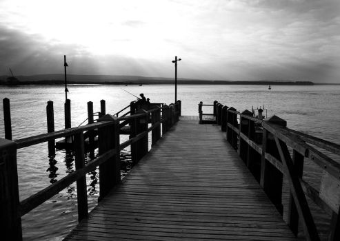 jetty evening by awjay