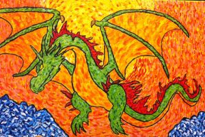 Sunset Wyvern Painting by Viperwings