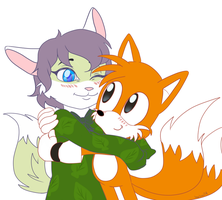 Leaf and Tails hug (COMMISSION) by lizathehedgehog