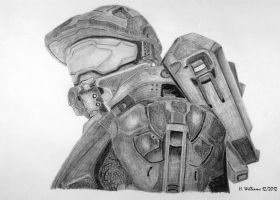 Master Chief B/W by 12jack12