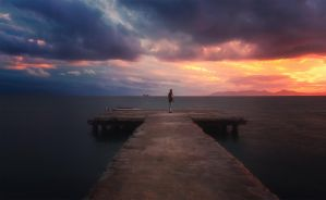 Lesvos at sunset by INVIV0