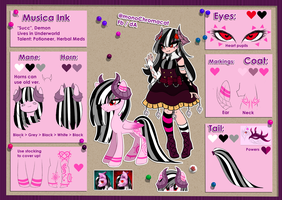 Reference Sheet : Musica Ink (Updated+Backstory) by monoChromacat