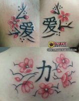 Tattoo: 3 Sisters Cherry Blossoms and Kanji by briescha