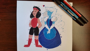 Ruby and Sapphire by axolotlsketches