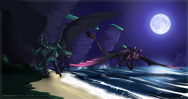 Commission - Midnight Beach by Majime