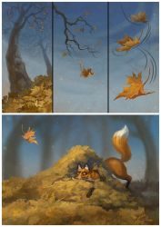 About foxes and leaves 01 by LouieLorry
