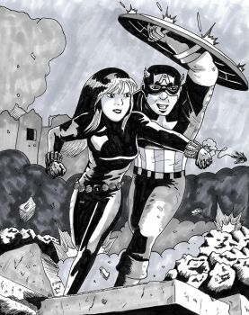 Protection - Capt America and Black Widow by RearRabbit