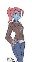 5 minutes Undertale doodle (undyne) by mcjoajoa