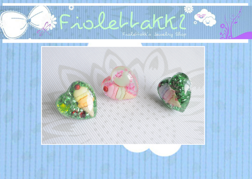 FIOLETTAKK2: IceCream Heart Love Resin Rings by Fiolettakk2