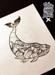 Whale tattoo sketch by AliciaJenkins
