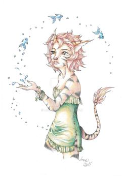 Catgirl playing with fishes - coloured by RagnaRayden