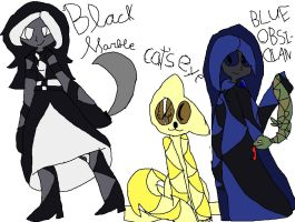 Black Marble, Cat's eye and blue obsidian by MeliMeloLord666