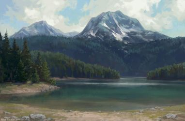 Black Lake in Montenegro by KateMaxpaint