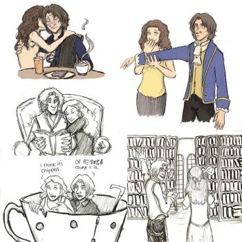 Rumbelle Sketches by theamazingkepso