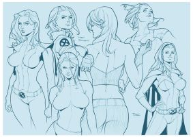 X-men Girls Sketch by taguiar