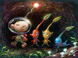 Olimar and Pikmin by Cortoony