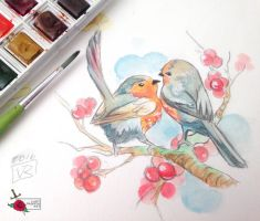 Couple of Robins by Lady-Valesya
