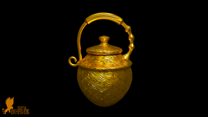 Golden Urn with wavy pattern by Lynxette79
