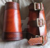 Celtic Leather Bracers, Arm guards by EarthlyLeatherDesign
