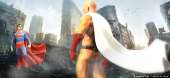 Superman e  Saitama by wellbruno
